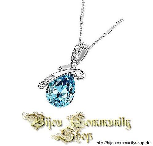 "Kristall-Halskette ""Engels Träne"" Blau"