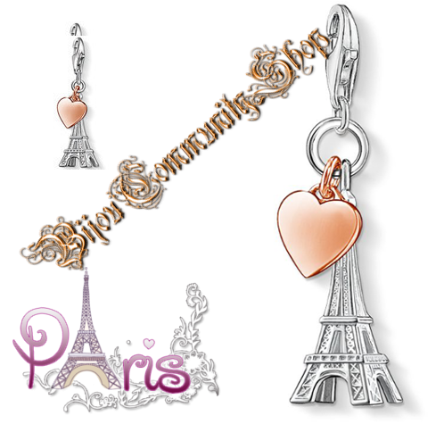 Rhodinierter Bettelanhänger Eiffelturm