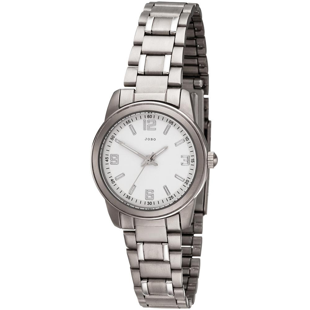JOBO Damen Armbanduhr Quarz Analog Titan (Weiß / silberfarben)