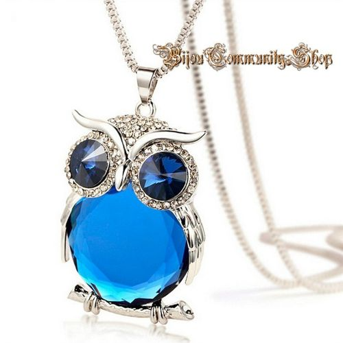 Halskette Kristalleule Silber mit blau