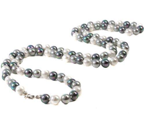 Perlen-Kette Grau-Kombi Länge: 90 cm