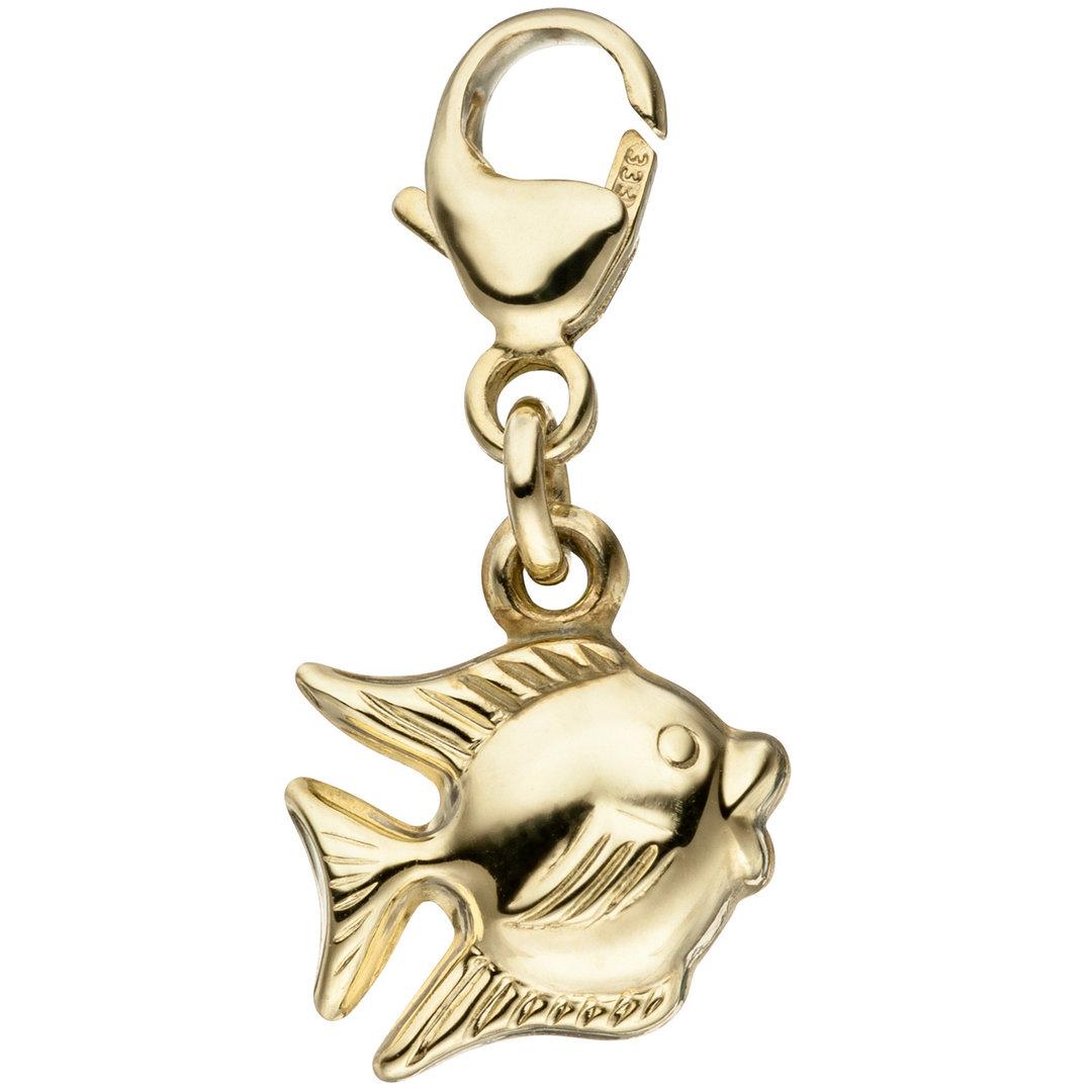 Einhänger Charm Fisch 333 Gold Gelbgold