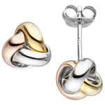 Ohrstecker Knoten 925 Sterling Silber tricolor