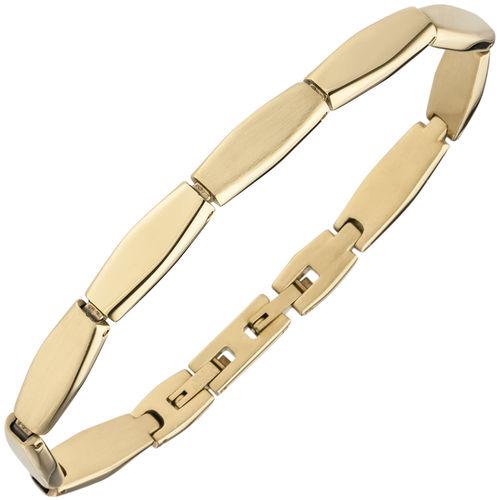 Armband Edelstahl gold-farben beschichtet matt 21 cm