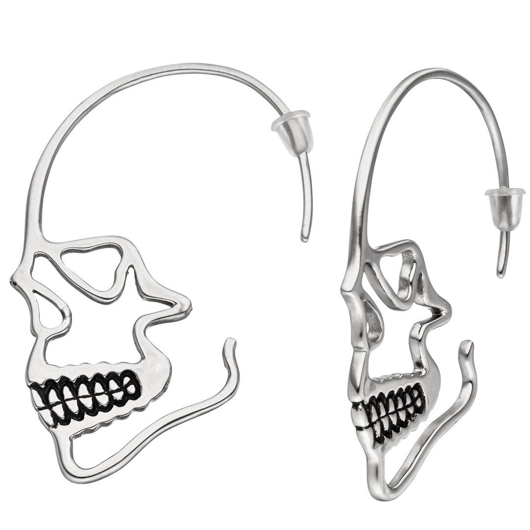 Ohrhänger Totenkopf Totenschädel Edelstahl geschwärzt
