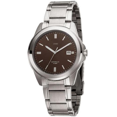 JOBO Herren Armbanduhr Edelstahl mit Datum braun / silberfarben