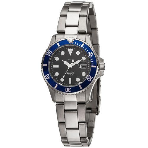 JOBO Damen Armbanduhr mit Datum Edelstahl / scwarz / blau