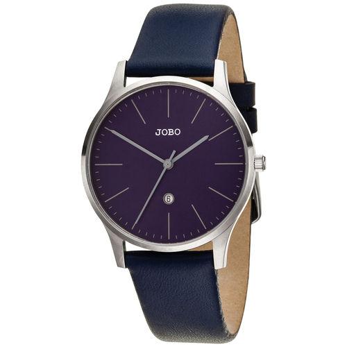 JOBO Damen Armbanduhr Quarz Analog Lederband Edelstahl / blau