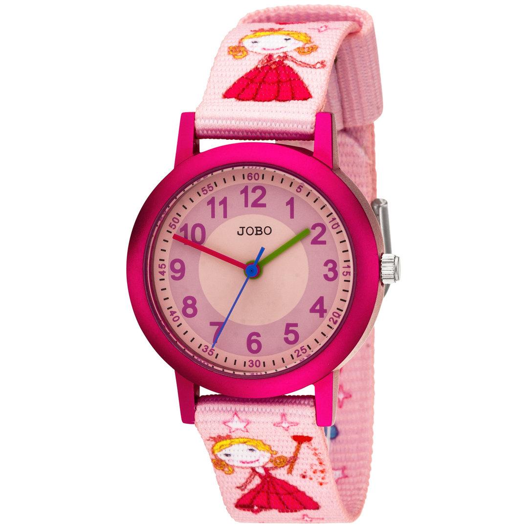 JOBO Kinder Armbanduhr Quarz Analog Aluminium Kinderuhr (Pink)